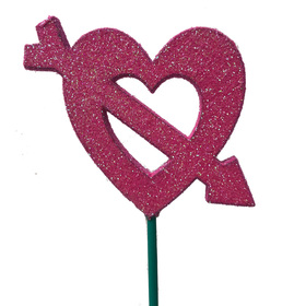 Heart Cupid 8cm on a 50cm stick hot pink/glitter