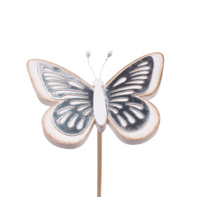Butterfly Tess 9cm on 50cm stick white