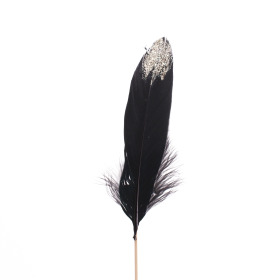 Feather Glitter Tip 12cm on 50cm stick black