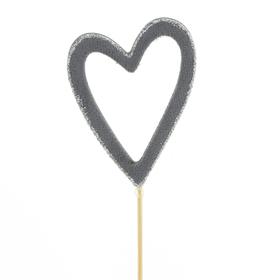 Heart Belle 8cm on 10cm stick FSC Mix gray