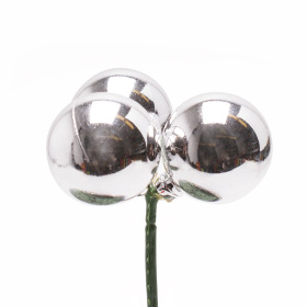 Christmas Balls Shiny Trio 3cm on 10cm stick silver