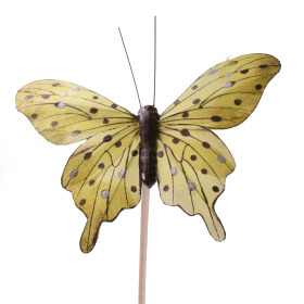 Butterfly Tropicana 8cm on 50cm stick yellow