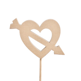 Heart Cupid 5.5cm on 10cm stick natural