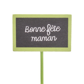 Bonne Fête Maman 5.5x3.5cm on 15cm stick green