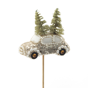 Christmas car Aspen 10cm on 50cm stick gold
