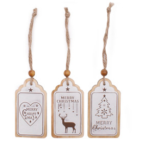 Christmas Label 8.5cm white assorted x3