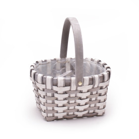 Basket Stripes oval with handle 23x19cm white