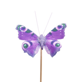 Butterfly Auralia 8cm on 50cm stick purple