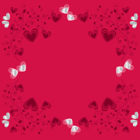 crystal Hearts 20x20 in red