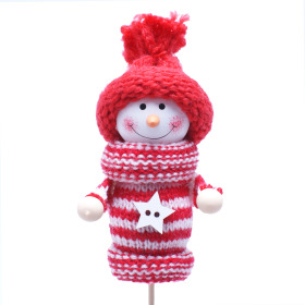 Winter Doll Nordic 8cm on 50cm stick red/white