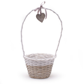 Basket Garden Heart Ø24 H16 TH40 gray/white