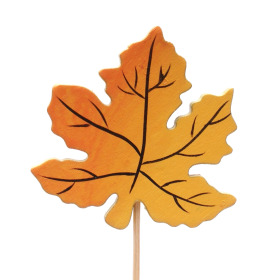 Autumn leaf wood 6cm on 10cm stick orange