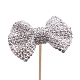Bow Glitter & Glamour 8cm on 50cm stick silver