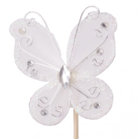Butterfly Oriënt 7cm on 15cm stick white