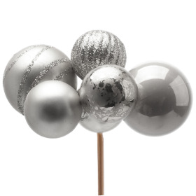 xmas Balls assorted 4x2in on 20in stick silver