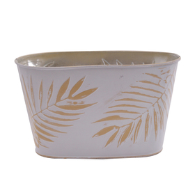 Pot Zinc Oval Urban Jungle 11x6x5.5 in ocher