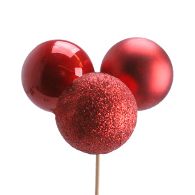 Xmas Balls Trio Mixed 1.58 in on 20 in stick red
