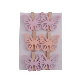 Vlinder Amber 5cm op clip roze/lila assorti x 6