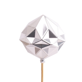 Christmas Ball Diamond 8cm on 50cm stick silver