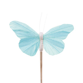 Butterfly Rosy 10.5cm on 50cm stick pastel blue
