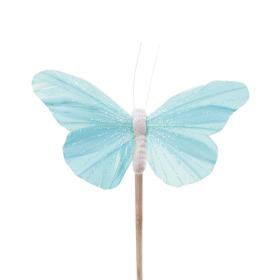 Vlinder Rosy 10.5cm op 50cm stok pastel blauw