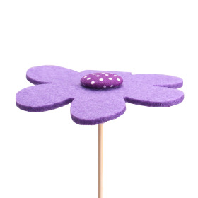 Flower Felt 8cm on 50cm stick purple