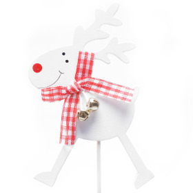Reindeer Bells 8cm on 10cm stick white