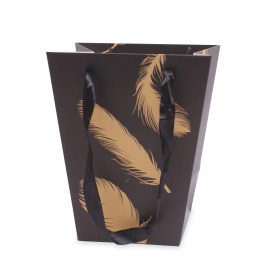 Carrybag Golden Feathers 17/13x11/11x20cm black