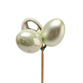 Pearly Egg Trio Mixed 4cm on 50cm stick green