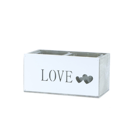 Glas in hout For Love Duo 17x9 H8cm wit