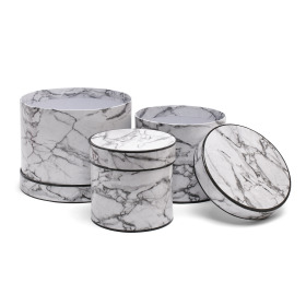 Hat box Marble set/3  Ø19/15/12.5 H15/13/12cm white