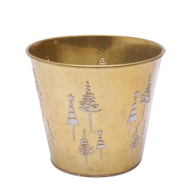 Zinc Pot X-Mas Tree Ø15.5 H13cm gold