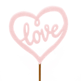 Heart Love-Leigh 7,5cm on 50cm stick pink
