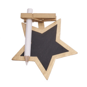 Chalkboard Star with clip 8.5cm gold