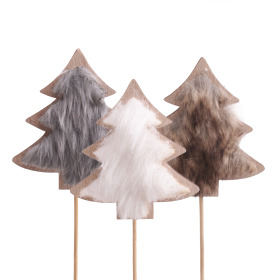 Furry Tree 8.5cm on 10cm stick assorted x3