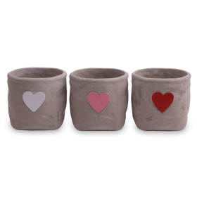 Ceramic Pot Hjarta ES12 assorted x3