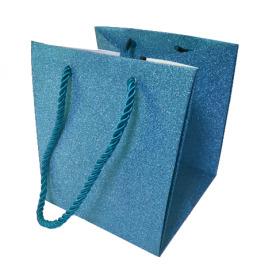"Carrybag Glitter & Glamour 15/15x13/13x15 ice blue 6"""