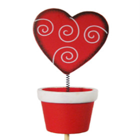 Wooden Wiggle Heart Clip 4 in Pot red