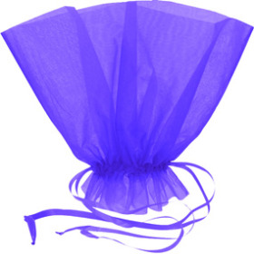 Organza Bqt roset Holder 20x12 in blue