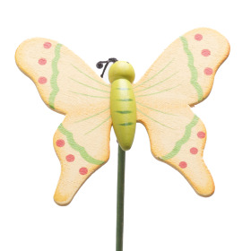 Wooden Butterfly 7cm on 50cm stick yellow