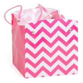 Carrybag waterproof folded Chevron 15x15x15cm pink
