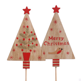 Christmas Tree Home Sweet Home 11cm on 50cm stick assorted