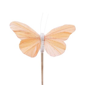 Butterfly Rosy 10.5cm on 50cm stick pastel orange