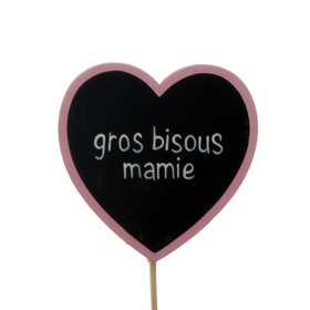 Heart Gros Bisous Mamie 6cm on 10cm stick FSC Mix light pink