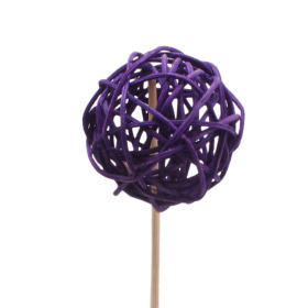 Rattan Ball 6cm on 50cm stick lavender