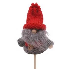 Winter Doll Rufus 6.5cm on 50cm stick gray