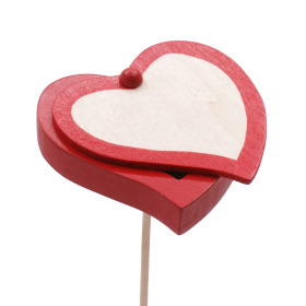 Wooden Heart Send Love 7cm on 50cm stick red