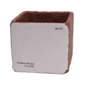 Ceramic Brick 14x14 H12,5cm white