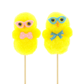 Chicks Iggy & Lizzy 8cm on a 50cm stick assorted x2