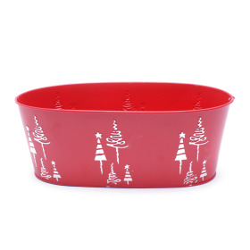 Zinc Oval X-Mas Tree 25x13xH9.5cm red